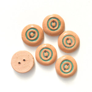 "Turquoise Concentric Circle Ceramic Buttons on Brown Clay - 3/4"" - 6 Pack"