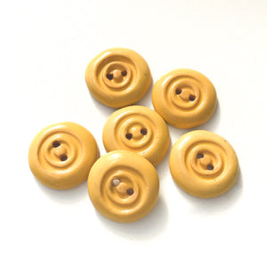 "Soft Yellow Concentric Circle Ceramic Buttons - Earthy Clay Buttons - 1/2"" - 6 Pack"