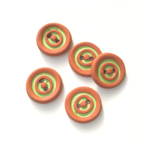 "Lime Green Concentric Circle Ceramic Buttons on Terracotta Clay - 11/16"" - 5 Pack"
