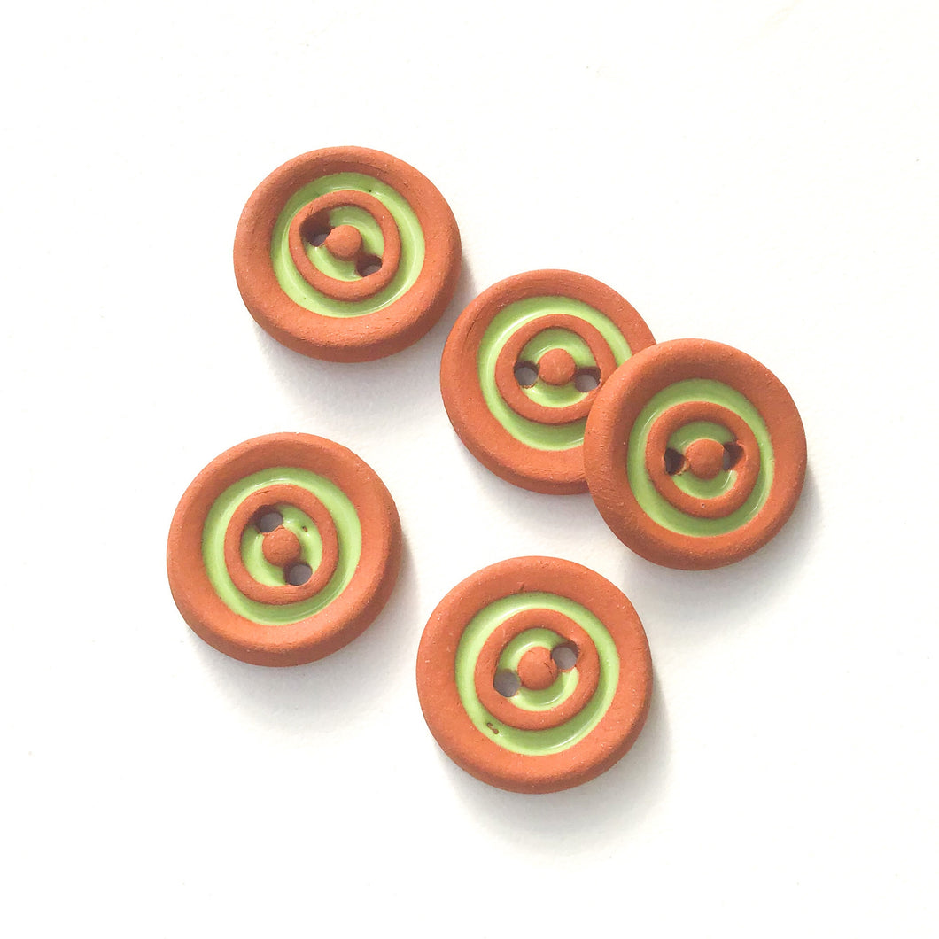 Lime Green Concentric Circle Ceramic Buttons on Terracotta Clay - 11/16