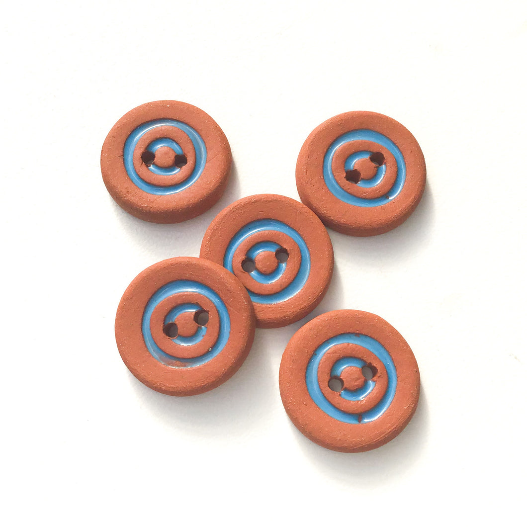 Cerulean Blue Concentric Circle Ceramic Buttons on Terracotta Clay - 3/4
