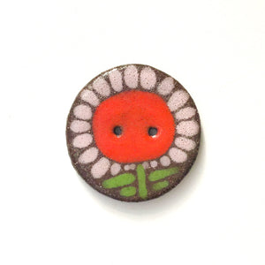Large Flower Button - Playful Ceramic Flower Button - 1 3/8""