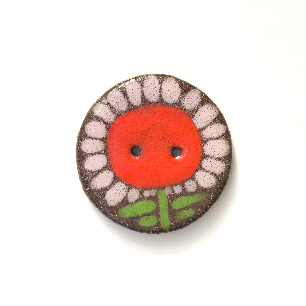 Large Flower Button - Playful Ceramic Flower Button - 1 3/8