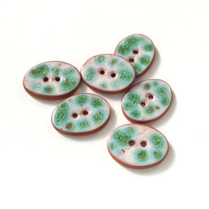 "Turquoise & White Speckled Ceramic Buttons - Oval Clay Buttons - 3/4"" x 1 1/16"" - 6 Pack"