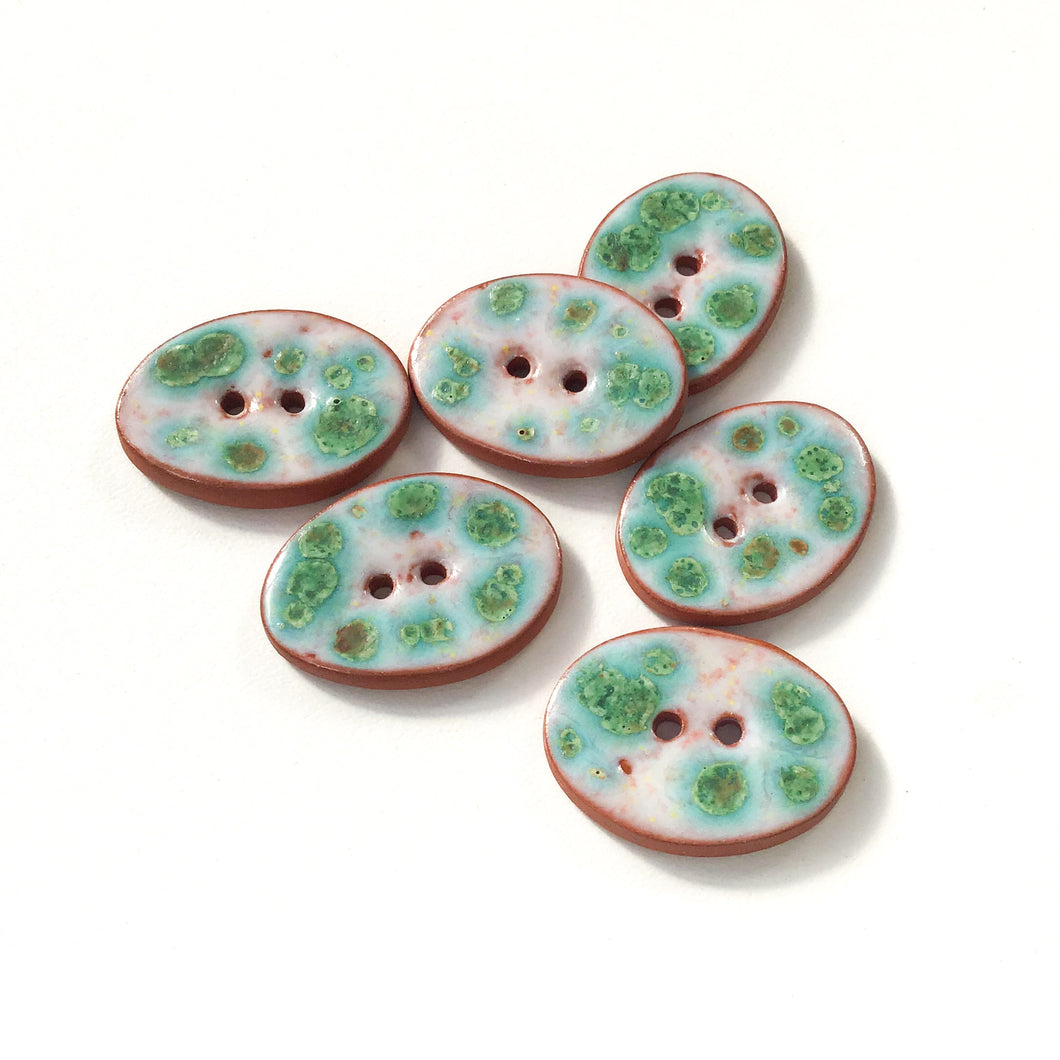 Turquoise & White Speckled Ceramic Buttons - Oval Clay Buttons - 3/4