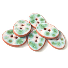 "Load image into Gallery viewer, Turquoise & White Speckled Ceramic Buttons - Oval Clay Buttons - 3/4"" x 1 1/16"" - 6 Pack"