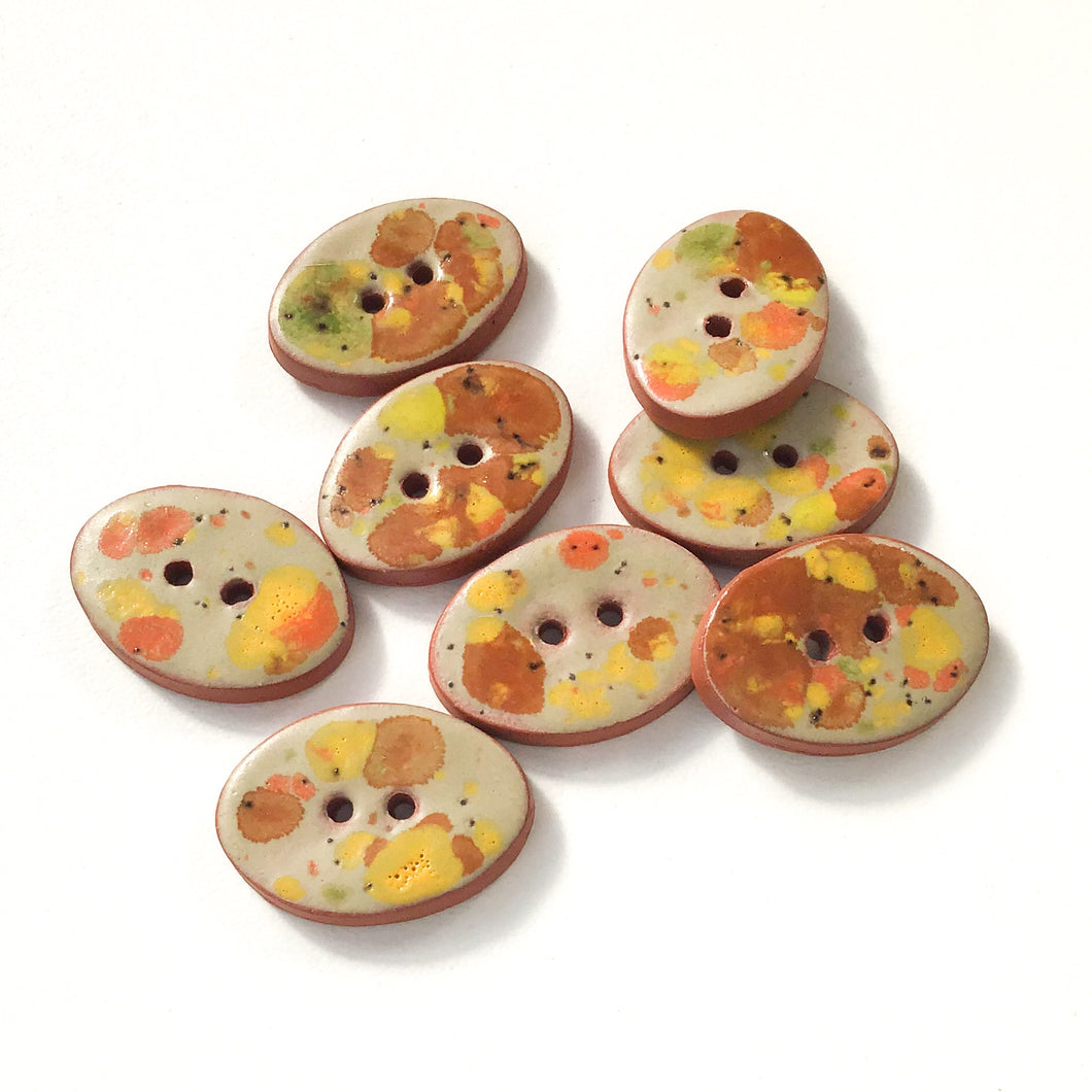 Autumn Foliage Ceramic Buttons - Speckled Clay Buttons - 5/8