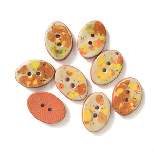"Autumn Foliage Ceramic Buttons - Speckled Clay Buttons - 5/8"" x 7/8"" - 8 Pack"