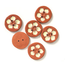 Load image into Gallery viewer, Hawaiian Petals Button - Soft Yellow Bloom on Red Clay - 1 1/8""