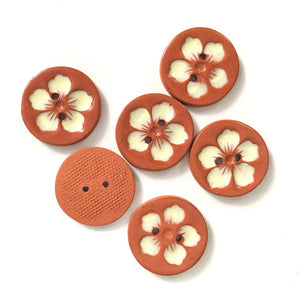 Hawaiian Petals Button - Soft Yellow Bloom on Red Clay - 1 1/8""