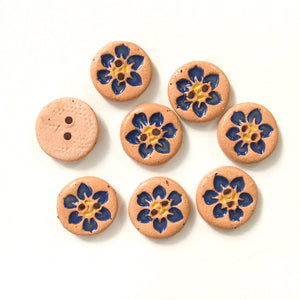 "Hawaiian Petals Button - Dark Blue Bloom on Brown Clay - 9/16"" - 8 Pack"