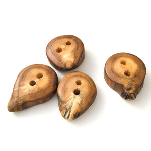 "Mulberry Wood Buttons - Wooden Buttons - 3/4"" x 1"" - 4 Pack"