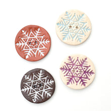 Load image into Gallery viewer, Large Snowflake Button - Hand Stamped Ceramic Snowflake Button - 1 1/2""