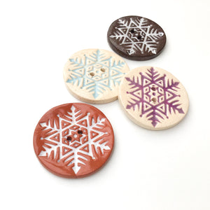 Large Snowflake Button - Hand Stamped Ceramic Snowflake Button - 1 1/2""