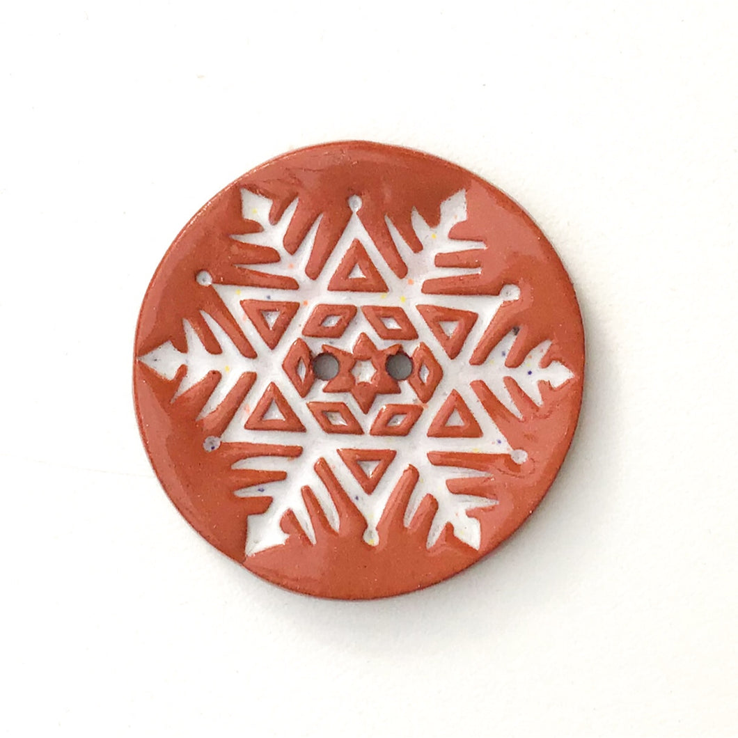 Large Snowflake Button - Hand Stamped Ceramic Snowflake Button - 1 1/2