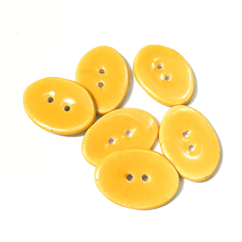 Bright Yellow Oval Clay Buttons - 5/8