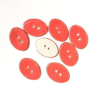 "Bright Coral Oval Clay Buttons - 5/8"" x 7/8"" - 8 Pack"