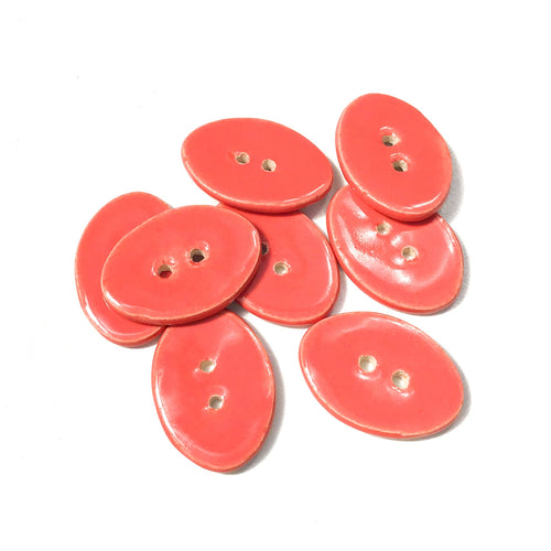 Bright Coral Oval Clay Buttons - 5/8
