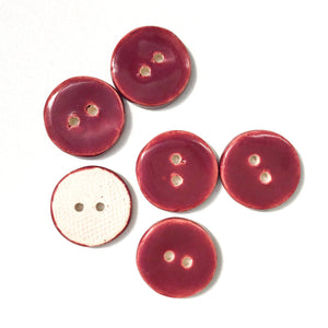 "Maroon Ceramic Buttons - Clay Buttons - 3/4"" - 6 Pack (ws-126)"
