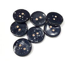 "Load image into Gallery viewer, Speckled Black Ceramic Buttons - Clay Buttons - 3/4"" - 7 Pack (ws-203)"