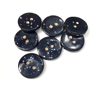 "Speckled Black Ceramic Buttons - Clay Buttons - 3/4"" - 7 Pack (ws-203)"