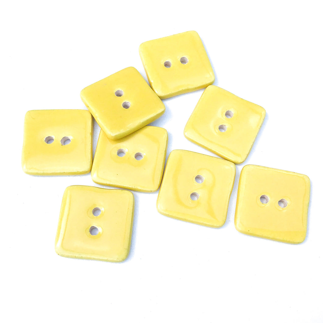 Yellow Ceramic Buttons - Square Clay Buttons - 3/4