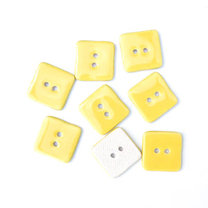 "Yellow Ceramic Buttons - Square Clay Buttons - 3/4"" - 8 Pack"