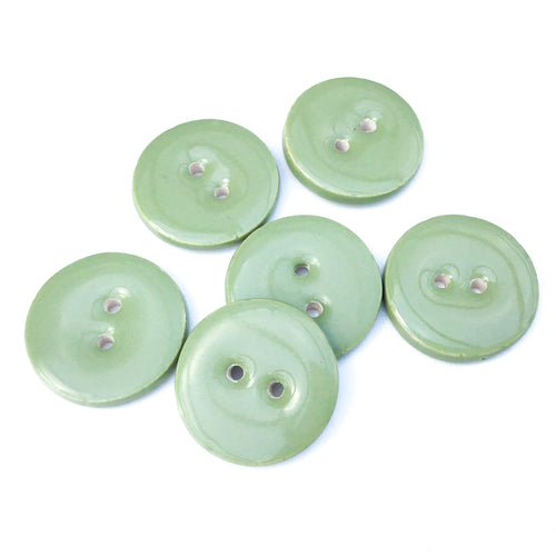 Sage Green Ceramic Buttons - Green Clay Buttons - 7/8