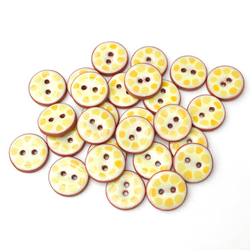 Yellow Cobblestones Ceramic Buttons - Yellow Clay Buttons - 3/4