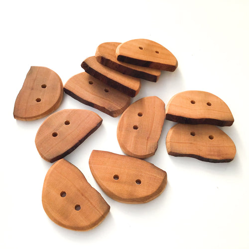 Large Organically Shaped Cherry Wood Buttons - Natural Wood Buttons - 1 1/8