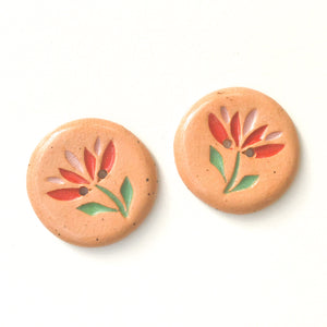 Cut Flowers Button - Red & Pink Ceramic Flower Button - 1 1/8""