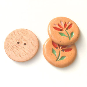"Cut Flowers Button - Red & Pink Ceramic Flower Button - 1 1/8"" (ws-60)"
