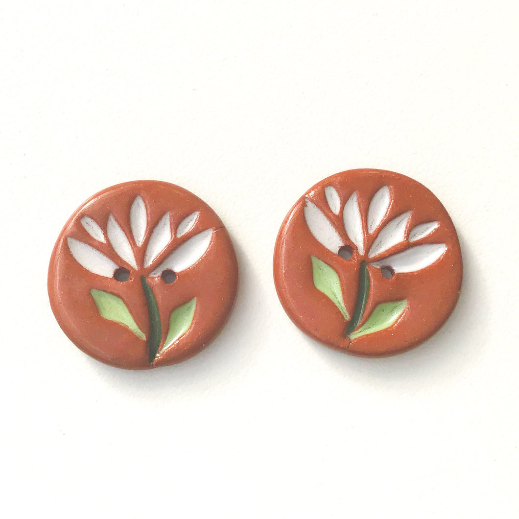 Cut Flowers Button - White Ceramic Flower Buttons - 15/16