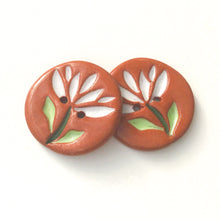 "Load image into Gallery viewer, Cut Flowers Button - White Ceramic Flower Buttons - 15/16"" - 2 Pack"