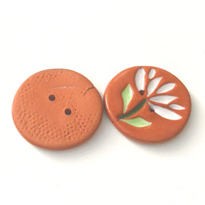 "Cut Flowers Button - White Ceramic Flower Buttons - 15/16"" - 2 Pack"