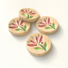 "Load image into Gallery viewer, Cut Flower Buttons - Pink Flowers Ceramic Buttons - 1"" - 4 Pack"