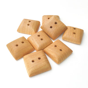 Large Maple Wood Buttons - Square Maple Buttons - 1""