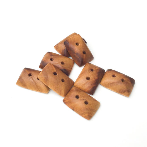 American Elm Wood Buttons - Rectangular Wood Buttons - 3/8