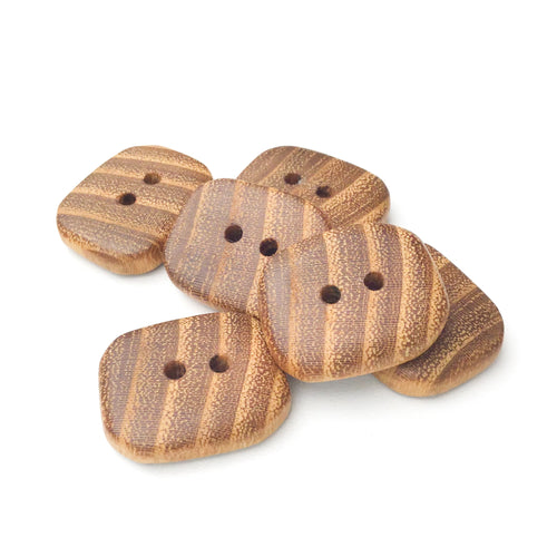 Black Locust Wood Buttons - Rectangular Wood Buttons - 7/8