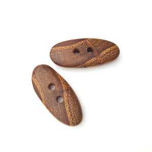 "Black Locust Wood Buttons - Wooden Toggle Buttons - 9/16"" X 1 1/4"" - 2 Pack"