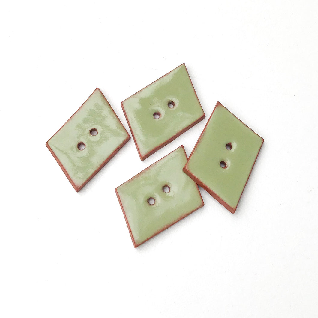 Sage Green Geometric Buttons - Olive Green Ceramic Buttons - 3/4