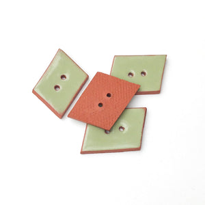 "Sage Green Geometric Buttons - Olive Green Ceramic Buttons - 3/4"" x 5/8"" - 4 Pack"