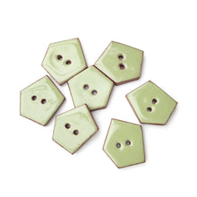 "Load image into Gallery viewer, Sage Green Geometric Buttons - Olive Green Ceramic Buttons - 3/4"" x 7/8"" - 7 Pack"