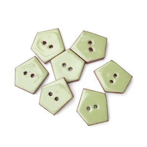 "Sage Green Geometric Buttons - Olive Green Ceramic Buttons - 3/4"" x 7/8"" - 7 Pack"