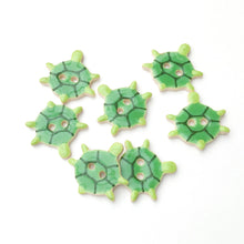 Load image into Gallery viewer, Turtle Buttons - Ceramic Turtle Buttons - Children's Animal Buttons  *Sold per grouping*