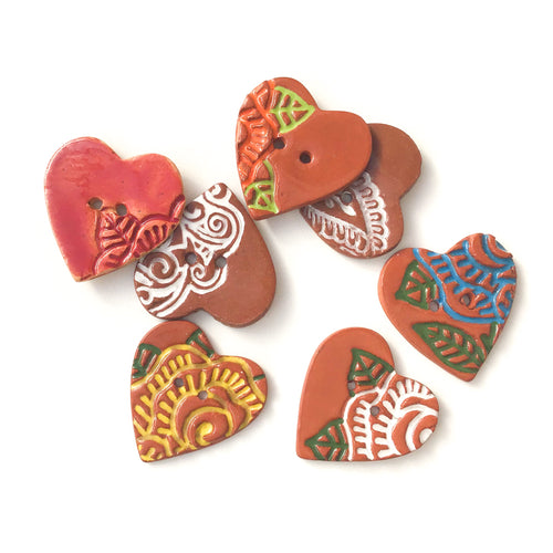 Large Stamped Heart Buttons - Painted Flowers Ceramic Heart Button - 1 3/8