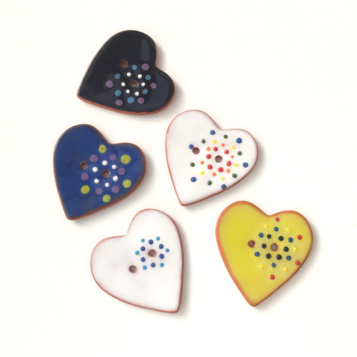 Decorative Heart Buttons - Colorful Dots Ceramic Heart Buttons - 1 3/8