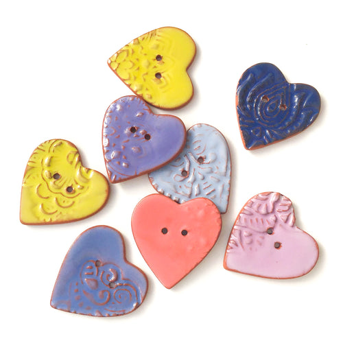 Large Stamped Heart Buttons - Soft Tones Ceramic Heart Buttons - 1 3/8