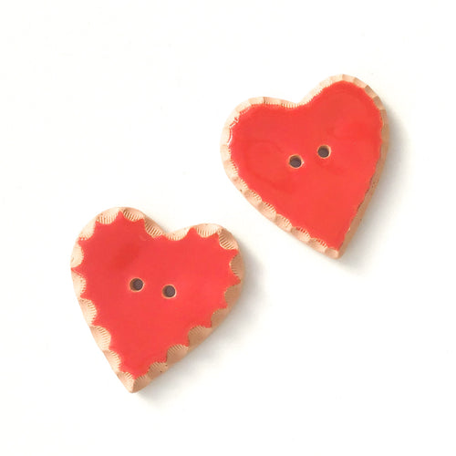 Decorative Red Heart Buttons - Ceramic Heart Button - 1 3/8