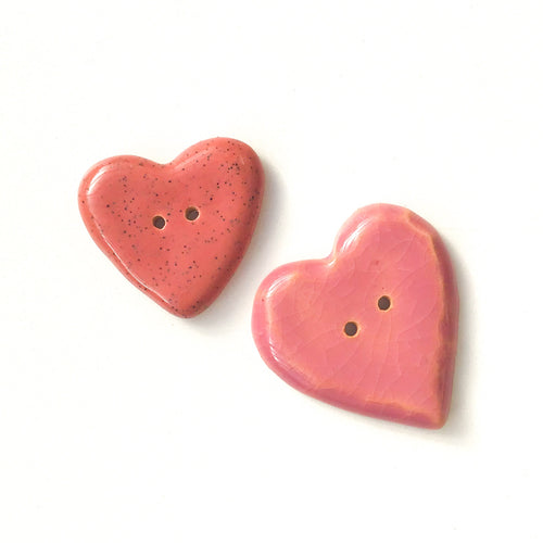 Decorative Pink Heart Buttons - Ceramic Heart Buttons